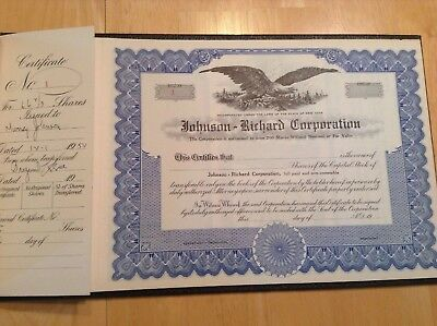 Stock Certificate Book Johnson-Richard Corporation 1952