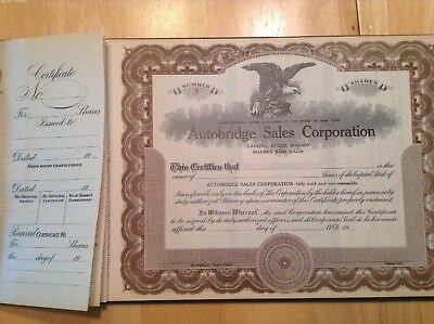 Stock Certificate Book Autobridge Sales Corporation 1942
