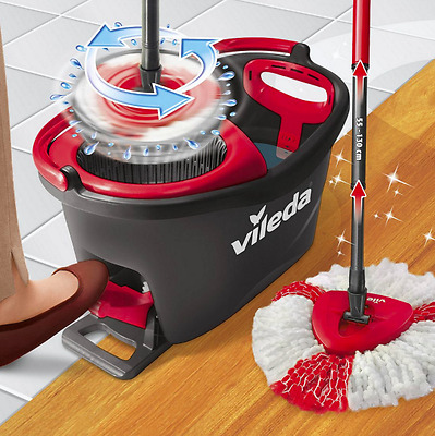 Turbo Microfibre Mop and Bucket Set Vileda Easy Wring and Clean Spin Heads Floor