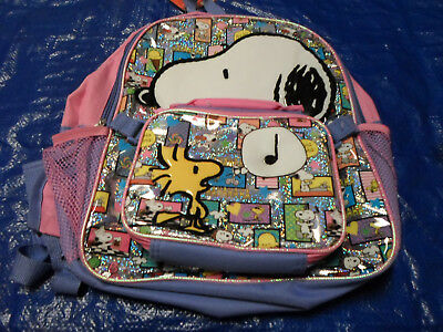 Kids Girls Pink Peanuts Snoopy School Backpack w/ Lunch Bag BRAND NEW w/ Tags