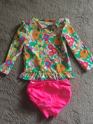 Girls Swimwear Size 3t 2 Piece Floral Top pink bottoms