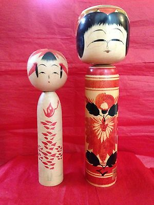 (2) BEAUTIFUL Vintage Creative Artistic Kokeshi Wood Japanese Figurine Dolls