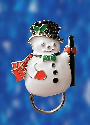 NEW Christmas Rhinestone Snowman Glasses / Spectacle Hanger Brooch Pin Holder