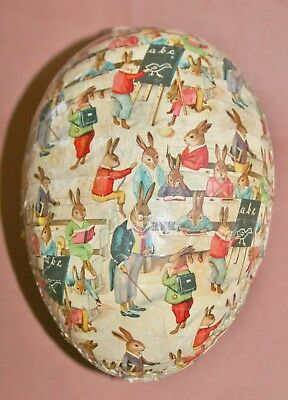 most beautiful antique german cardboard easter egg candy container rabbit school