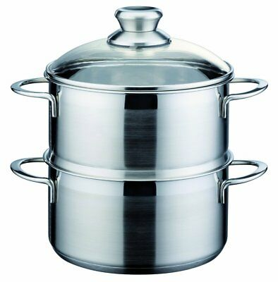 GSW Stahlwaren GmbH Stainless Steel Steamer with Insert, Silver, 20 cm