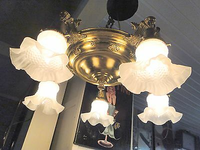 535  1930's PAN ANTIQUE VINTAGE DECO Ceiling Light CHANDELIER READY TO HANG