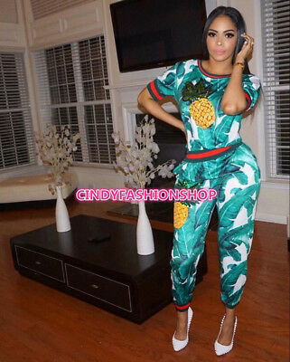 USA  Women Short Sleeve Sexy Print  Sequined 2 PC Set Casual Jumpsuit & Rompers