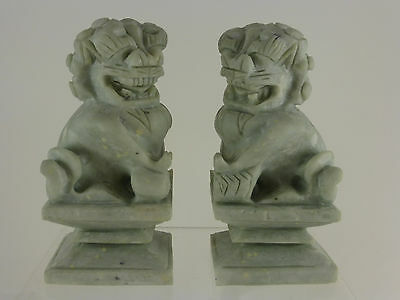 2 Vintage Hand Carved Chinese Hardstone Foo Dogs Kylin
