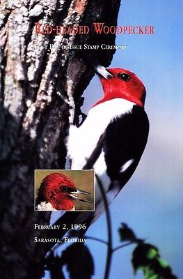 USPS 1st Day of Issue Ceremony Program #3032 Red-headed Woodpecker FDOI 1996
