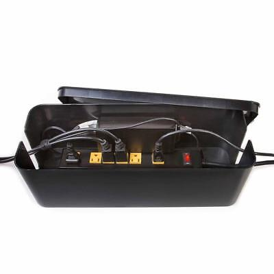 "16"" Cable Management Box Extension Lead Charger Hide Organiser Tidy Black"