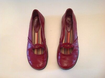 Clarks Women Red Leather Slip-On Ballet Flats Loafer Moc Flat Shoe Sz 6M