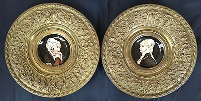 Antique French Pair Of Hand Painted Wall Plates, Xix Century.