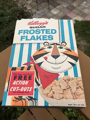 1959 Kelloggs Tony Tiger Sugar Frosted Flakes Cereal Box Vintage Snack Pak Ad