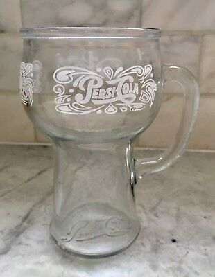 Vintage Collectible Pepsi Cola Advertising Glass Mug with Etching 1970