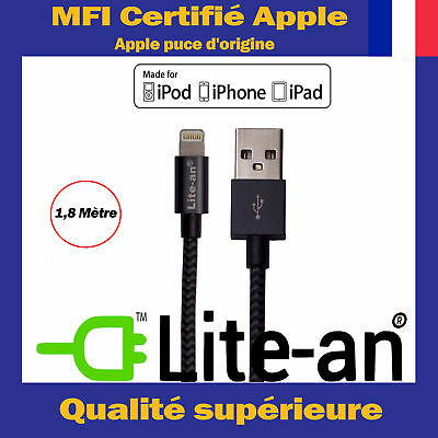 Cable Lightning vers USB Pour Apple iPhone SE A1723 A1662 A1724 Chargeur - MFI