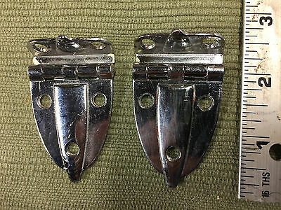 "Two 2 Vintage Art Deco Mid Century Cabinet HINGES 3/8"" Offset Nickel Copper (P1)"
