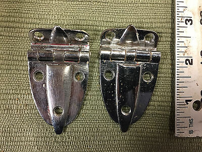 "Two 2 Vintage Art Deco Mid Century Cabinet HINGES 3/8"" Offset Nickel Copper (P2)"