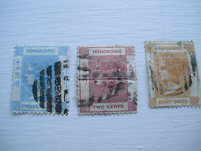HONG KONG Lot of 1862 QV NO WATERMARK Stamps 12c MH USED - 12c 8c 2c Cent Stamp