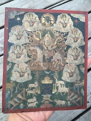 Antique Very Finely Painted Miniature Tibetan Mongolian Thangka chinese painting