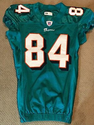 Vegas  MIAMI DOLPHINS Game Used Worn Football Jersey CHRIS CHAMBERS Badgers 2004