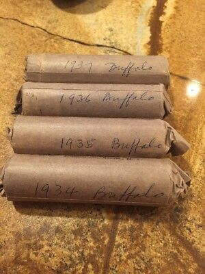 Vintage Buffalo Nickels (1934 - 1937) 1 Roll Of Each 160 Total Coins