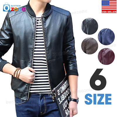 Men's Leather Jacket Biker Black Motorcycle Coat Slim Fit Outwear Jackets