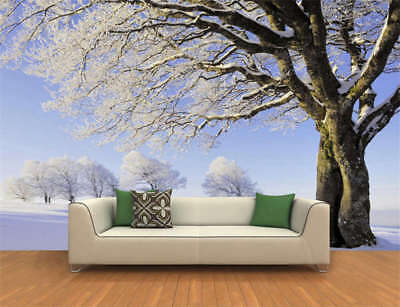 Winter Snow Tree Full Wall Mural Photo Wallpaper Printing 3D Decor Kids Home