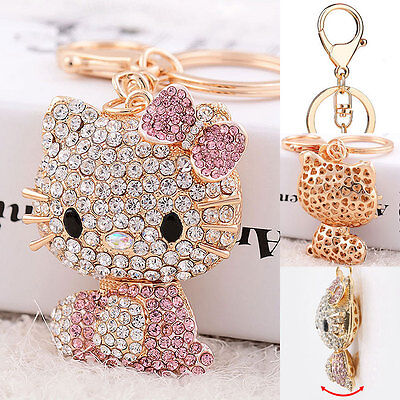 2018 New Hello Kitty Key Chain 3D Cute Pink Wallet Pendant Decor Crystal Bling