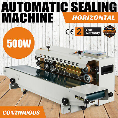 Continuous Automatic Sealing Machine Band Sealer Horizontal 500W Date Coder