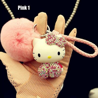 2018 Hello Kitty Key Chain Cute Crystal Bling Rhinestone Soft Ball Gift Pink Toy