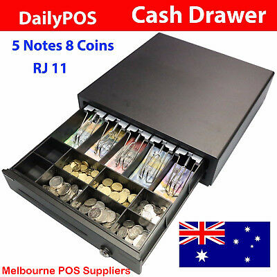 DailyPOS Australian Electronic Cash Drawer Box RJ11 12v/24v 5 Notes 8 Coins POS