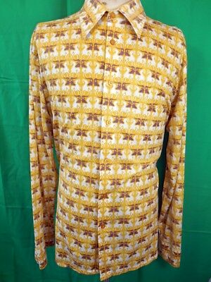 Vintage 70s Gold White Purple Horse Pattern Poly/Cotton Gloweave Body Shirt XL