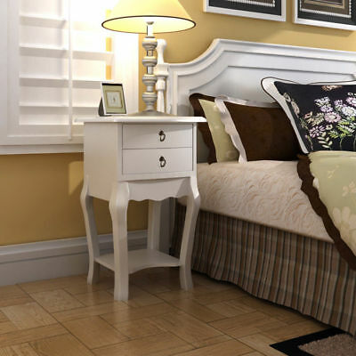 Bedside Cabinet Table 2 Drawers Unit Bedroom Furniture Nightstand French Style