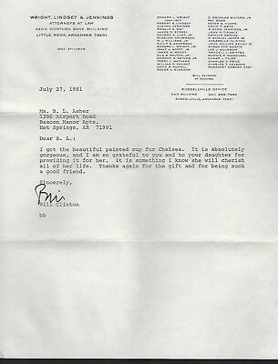 Bill Clinton signed letter dated July 27, 1981 42nd President