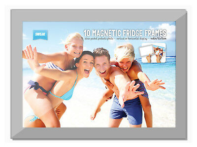 10 Pack Shot2Go Silver Magnetic Photo Fridge Frames (Holds a 6x4 inch photo)