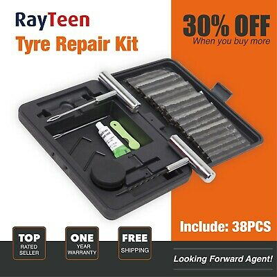 RayTeen 38pcs Tire Puncture Repair Kit Compact Black Carry Case