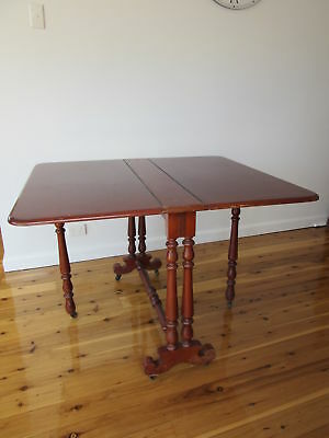 Vintage Antique Dropside Dropleaf Table Turned Legs Victorian Style On Casters