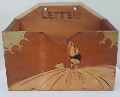 Crinoline Lady Hand Painted Pokerwork Wooden Letters Box