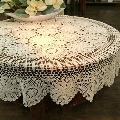 Round Handmade Crochet Lace Tablecloth Beige Vintage Cotton Table Cover 60inch