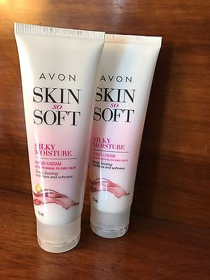 2 X Avon Skin So Soft Silky Moisture Hand Cream 75 Ml New