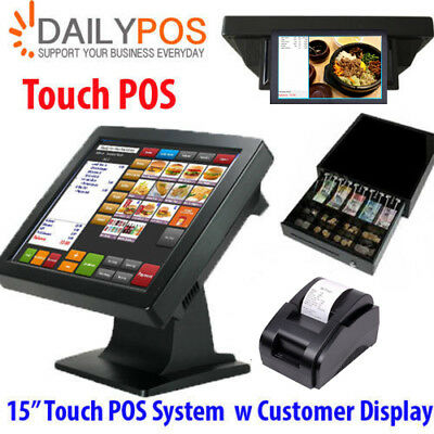 Touch POS System Restaurant Cafe Pizza Fish Chips Takeaway Cash Register Dual Sc