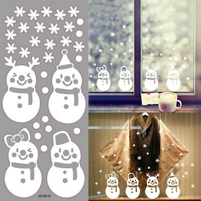 Lovely Window Decoration White Snowflake Merry Christmas Snowman Wall stickers