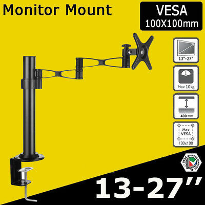 "Single Arm Computer Monitor Screen Desk Mount Stand for 13- 30"" TV Vesa 75 100"