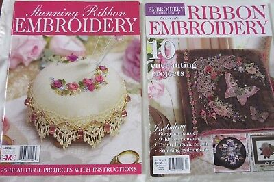RIBBON EMBROIDERY Magazines x 2 - 35 Enchanting, Stunning Projects to make.