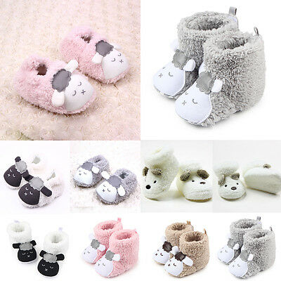 Newborn Baby Toddler Boys Girls Cartoon Anti-Slip Boots Warm Slippers Crib Shoes
