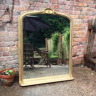 IMPRESSIVE LARGE ANTIQUE FRENCH CRESTED GILDED MIRROR - c1890