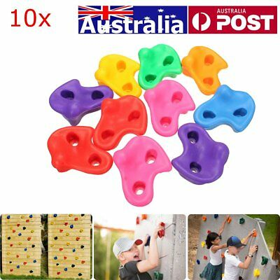 AU 10x Textured Climbing Rock Wall Stones Holds Hand Feet Kids Assorted Bolt Kit