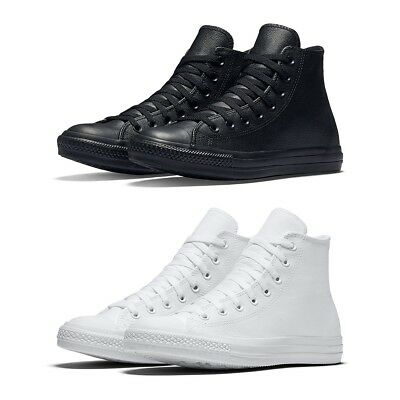 cc902ed233f New Converse Chuck Taylor All Star Leather High Top Women Shoes Black White  NIB