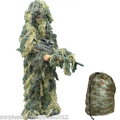 Kids Army Ghillie Suit Camo Boys Sniper Dress Up Costume Military Camoflauge