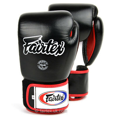 Fairtex Boxing Gloves Black Leather 3 Tone Muay Thai MMA Sparring Gloves